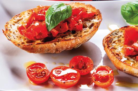 crostini croccanti con pomodorini e timo