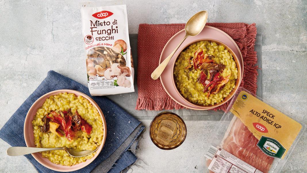 Zuppa di legumi e cereali con funghi e speck